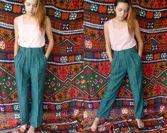 Italian Fabric HighWaisted  Rayon/Linen by Akimbovintagefinds, $28.00