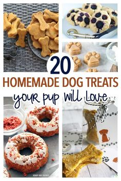 20 Simple Homemade Dog Treats Your Pup Will Love - Spoil your dog with healthy and easy homemade dog treats! Dogs love these dog treat recipes and you - Puppy Treats, Diy Dog Treats, Healthy Dog Treats, Healthy Pets, Homemade Dog Cookies, Homemade Dog Food, Cookies For Dogs, Dog Biscuit Recipes, Dog Food Recipes