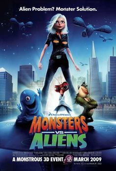 Watch The Movie Monsters Vs Aliens. A woman transformed into a giant after she is struck by a meteorite on her wedding day becomes part of a team of monsters sent in by the U. government to defeat an alien mastermind trying to take over Earth. Streaming Hd, Streaming Movies, Kid Movies, Cartoon Movies, Movie Tv, Childhood Movies, 3d Cartoon, Monsters Vs Aliens Movie, Alien Movie Poster