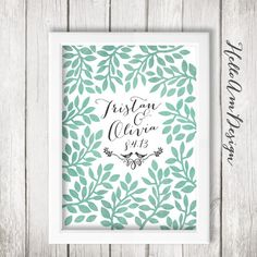 Wedding Guest Book Tree - Mint Gold - Guest Book Poster with 150 ...