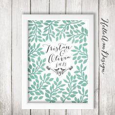 Wedding Guest Book Watercolour Garden Print Art Bird Tree