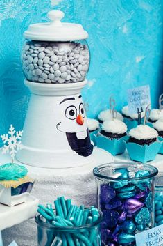 Olaf treats at a Frozen birthday party! See more party ideas at CatchMyParty.com!