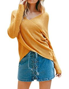 18c5687ac Swmmer Liket Women's Casual Loose Sexy V Neck Long Sleeve Pullover Sweater  Winter Fashion Outfits,