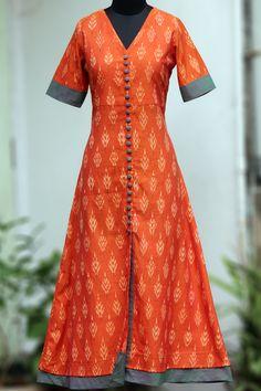 Maati Crafts Orange Cotton printed Shirt Style AnarkalI Kurti