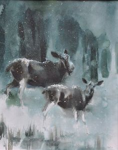 moose in sweden | 13 White-Tailed Deer With Ani Watercolour 2004 54cm x 73cm
