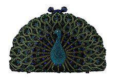 Yilongsheng Luxury Crystal Clutches for Women Peacock Clutch Evening Bag (Green)