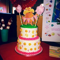 Dr. Seuss Lorax baby shower cake