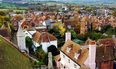 Rooftop view of the village of Rye, East Susses. (Far left is the Lamb House where literary great have resided)