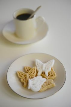 Sugar cubes in the shape of a butterfly
