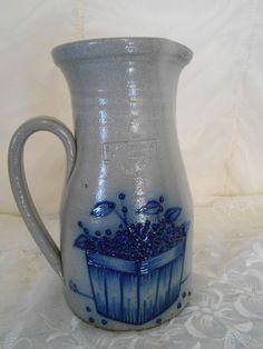 Vintage 1989 Salmon Falls Stoneware Pottery Pitcher Tall Raised Blueberries #StonewareSalmonFalls