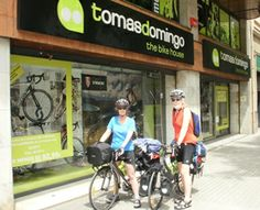 Dennis and I leaving Barcelona Spain on our bikes purchased at  Tomas Domingo: Destination, Santiago de Compostella