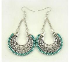 Boho Long Drop Earrings Silver Carved Ethnic Power Bohemian Earrings Silver Drop Earrings, Vintage Earrings, Fashion Earrings, Women's Earrings, Vintage Jewelry, Fashion Jewelry, Women Jewelry, Silver Jewelry, Earrings Handmade