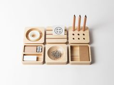 Tofu Stationery Set - modular desk organizers  |  http://www.houzz.com/photos/2379470/Tofu-Stationery-Set-modern-desk-accessories-other-metro  |  #stationery  #stationary
