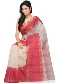 Red and Off White Cotton Tant Handloom Saree with Blouse