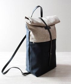 Backpack purse leather and canvas backpack roll up top