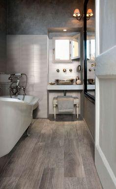 Suelo de cerámica imitación madera para el baño muy realista