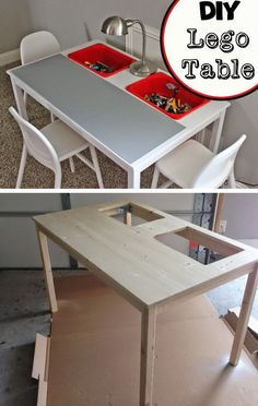 DIY Lego table made from IKEA Ingo Dining Table and IKEA Trofast buckets.