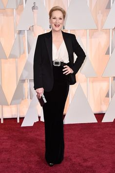 Meryl Streep, clad in a velvet maxi skirt and blazer with a delicate camisole at the Oscars 2015