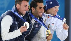 Silver medalist Ondrej Moravec of the Czech Republic , gold medalist Martin Fourcade of France and bronze medalist Jean Guillaume Beatrix, also of France. #sochi2014