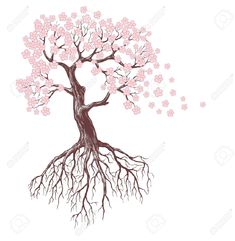 11877645-spring-tree-with-pink-blossoms-Stock-Vector-tree-root-drawing.jpg (1268×1300)