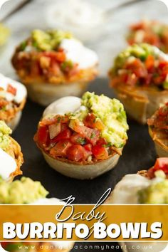 Baby Burrito Bowls - - These Mini Burritos are made in an edible tortilla bowl - they're perfect finger food, fun to make and bursting with flavour! Seafood Appetizers, Finger Food Appetizers, Yummy Appetizers, Appetizers For Party, Simple Appetizers, Easter Appetizers, Easy Finger Food, Finger Food Recipes, Finger Foods For Party