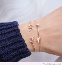 Golden bracelets with designs