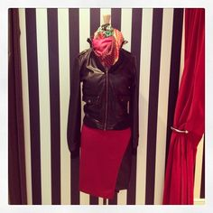 This skirt ($60) by @Ya LosAngeles also comes in black and olive. We love it paired with a bomber jacket ($78) and colorful scarf ($32).