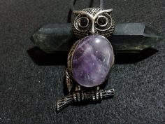 Amethyst Owl Necklace + Free Shipping Worldwide - Owl Jewelry, Crystal Jewelry, Amethyst Pendant, Owl Pendant, Owl Necklace, Crystal by OurArtyCreations on Etsy