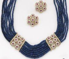 Diamond Necklaces : A set of sapphire, ruby, diamond and eighteen karat gold jewelry - Buy Me Diamond Real Gold Jewelry, Beaded Jewelry, Fine Jewelry, Beaded Necklace, Gold Jewellery, Stylish Jewelry, Gold Necklace, Jewelry Making, Pearl Jewelry