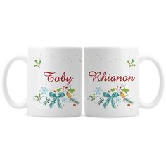 This charming and festive mug set is ideal for enjoying a warm drink on a cold winter's night! Personalized Christmas Mugs, Christmas Mug Sets, Winter Night, Mugs Set, Cold, Messages, Tableware, Classic, Festive