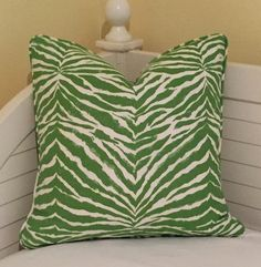 Quadrille China Seas Nairobi in Jungle Green and Tint Designer Pillow Cover - Both Sides with Self Piping - Square, Lumbar and Euro Sizes by…