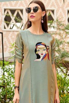 Printed Kurti Designs, Salwar Designs, Kurta Designs Women, Kurti Designs Party Wear, Blouse Designs, Party Wear Kurtis, Kurti Sleeves Design, Kurta Neck Design, Sleeves Designs For Dresses