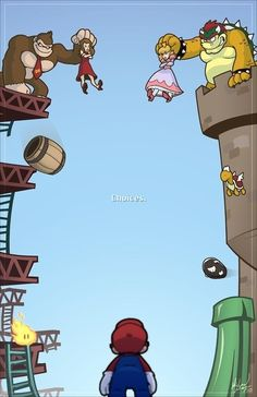 Choices #mario #donkeykong LOL. Mario went from dodging and breaking barrels thrown by Donkey Kong to save a woman to jumping on Koopa Troopas and Goombas and breaking bricks to save a princess from Bowser.