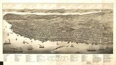 """""""Vintage Map of Halifax Nova Scotia (1879)"""" by Alleycatshirts @Louise-clémence Grenier, Keene // This is a vintage pictorial map of Halifax Nova Scotia produced in 1879. // Imagekind.com -- Buy stunning, museum-quality fine art prints, framed prints, and canvas prints directly from independent working artists and photographers."""
