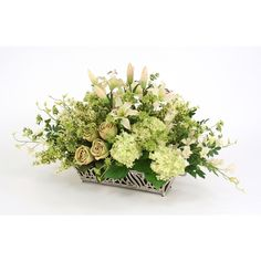 Great Price on Spring Mix of Silk Lilies, Hydrangeas, Orchids and Roses in a Silver Filigree Planter.Free Shipping. Faux Flower Arrangements, Spring Mix, Silver Filigree, Faux Flowers, Hydrangeas, Lilies, Orchids, Florals, Planters