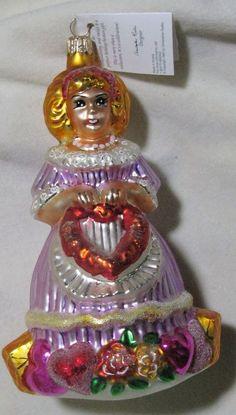 Christopher RadkoJENNY LOVE ORNAMENT *NEW* RETIRED RARE GIRL HEART CUTE GLASS