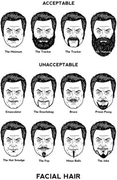 Unacceptable and acceptable beards