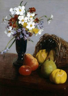 Fruit and Flowers, by Painter and lithographer Henri Fantin-Latour (1836-1904), French.