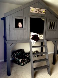 Kids Bedroom Tree House diy clubhouse bed (with plans) $200 for lumber - $300 total with