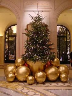 V - Paris, what a grand idea for Christmas decorating. Spray paint gold a large clay pot and balls from the toy store. via Chinoiserie Chic: Chic Christmas DIY Noel Christmas, Christmas Balls, Winter Christmas, All Things Christmas, Christmas Lights, Christmas Tree Simple, Large Christmas Ornaments, Jeff Leatham, Diy Weihnachten