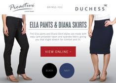 Enjoy quality with Ella pants and Diana skirts made from wash & wear fabric with a slight stretch for comfort! Corporate Outfits, Black And Navy, Spandex Fabric, Skirt Fashion, Diana, Lady, Skirts, Clothing, Pants