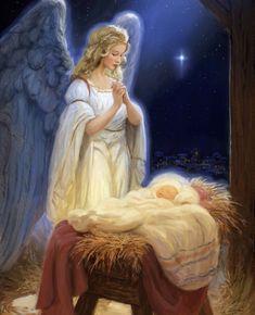 Christmas Nativity Scene, Christmas Scenes, Christmas Pictures, Christmas Angels, Christmas Art, Jesus Born Christmas, Pictures Of Jesus Christ, Jesus Art, Angels Among Us