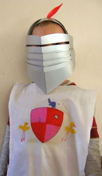 Fairy Tale Activities: How to make a knight's helmet with a lift up visor.
