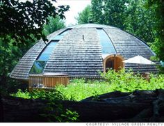 New Paltz, N.Y.  Price: $1 million dollars  Bedrooms: 3  Baths: 3  Square feet: 2,300  Dome-shaped home not only looks like a UFO, it spins like one. The eco-friendly structure sits on a turntable and can turn at the touch of a remote control to take advantage of lush forest views or capture the warmth of the sun.