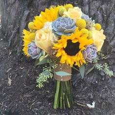 Sunflower bouquet with succulents, craspedia and roses for Elizabeth