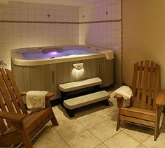 Indoor hot tub room, work out room, and sauna. Yes please! So ...