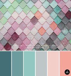 a rainbow-wall-inspired color palette // pastels, blue, aqua, gray, peach - Yurrina Kids - Living Room Decor Colors, Living Room Color Schemes, Bedroom Colors, Color Schemes Colour Palettes, Colour Pallete, Color Combos, Color Schemes With Gray, Colour Colour, Gray Color
