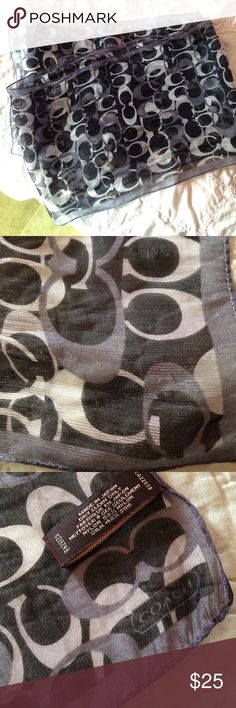 "Coach signature scarf This scarf is infused with a silver metallic thread that gives it a shimmer effect throughout. There are snags and pulls here and there, especially on one end, but nothing that calls attention. Because the pattern is busy and the colors monotone, it is hard to capture the flaws in the photographs. Price reflects the condition. Still perfectly lovely when on. 9"" wide, 60"" long. Coach Accessories Scarves & Wraps"