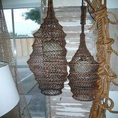 Fish Catcher Hanging Lamps +DIY + Beach Home Decor + Coastal Cottage + Bungalow