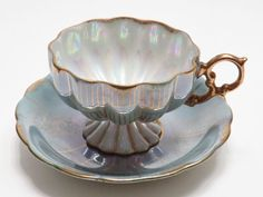 VINTAGE ROYAL SEALY FOOTED TURQUOISE BLUE IRIDESCENT MELON TEA CUP AND SAUCER #MelonFooted #RoyalSealy
